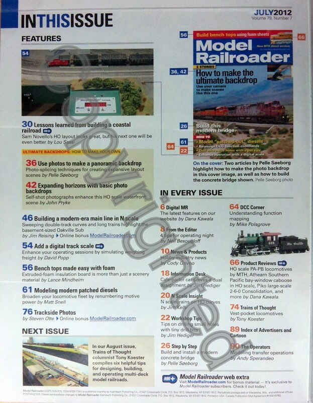 Model Railroader 2012 July