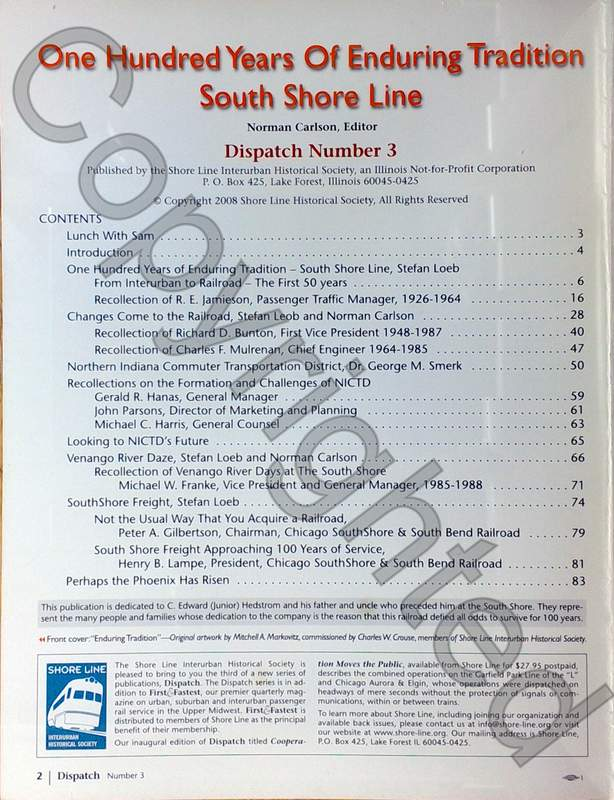 One Hundred Years – South Shore Line - Dispatch 3